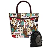 JAVOedge Building / City Scene Pattern Double Pocket Lunch Bag Tote with Zipper and Handle and Bonus Drawstring Bag