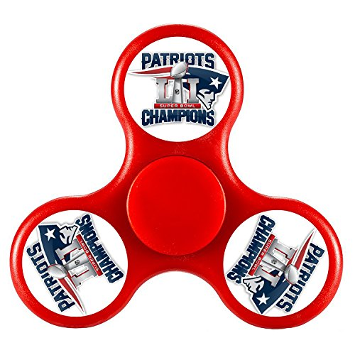 New England Patriots With Super Bowl 51 Campions Tri Fidget Spinner Nice Edc High Speed Stainless Steel Bearing Adhd Focus Anxiety Stress Relief Boredom Killing Time Hand Toys Red