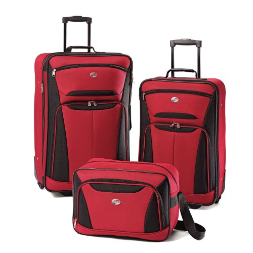 Price comparison product image American Tourister Luggage Fieldbrook II 3 Piece Set, Red/Black
