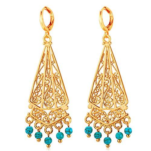 U7 Vintage Earrings Turquoise Chandelier