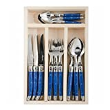 Jean Dubost JD07-13152 24 Piece Everyday Flatware Set with Handles in a Tray, Blue