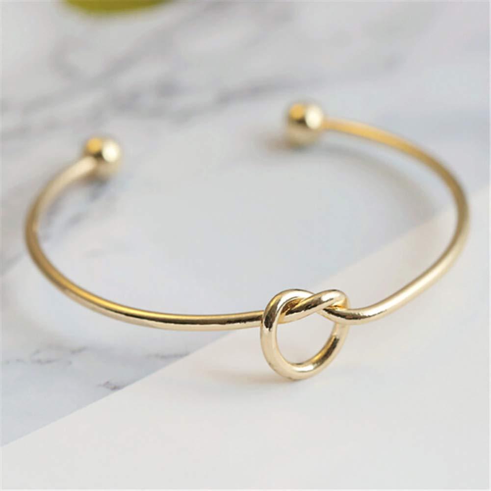 Nudo de amor regalo brazalete pulsera de dama de muchachas de las mujeres del dise/ño simple de joyer/ía oro nudo
