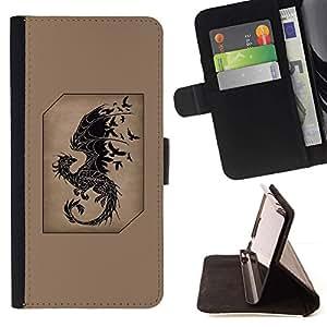 Momo Phone Case / Flip Funda de Cuero Case Cover - Brun Noir Oiseaux - Huawei Ascend P8 (Not for P8 Lite)