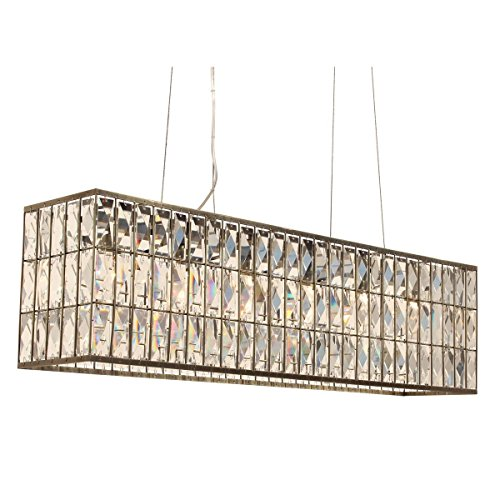 (The Monroe Rectangular Clear Crystal Chandelier, Antique Brass)