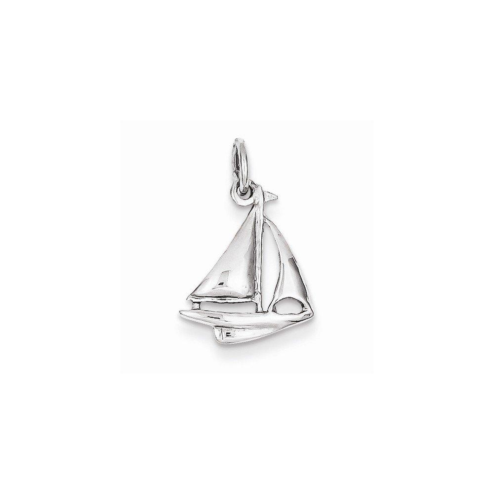 14k White Gold Solid Polished 3-Dimensional Sailboat Charm (12 x 19 mm) QG K1051