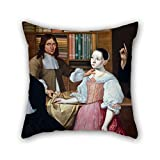 20 X 20 Inches / 50 By 50 Cm Oil Painting Adriaen Bloem - In The Draper?s Shop Throw Pillow Covers Each Side Ornament And Gift To Boy Friend Kids Boys Saloon Club Boys Monther