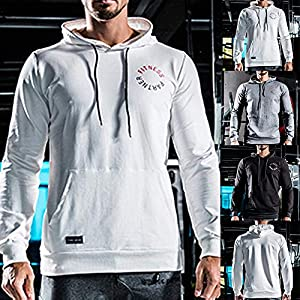 Sikye Men's O-Neck Cotton Solid Tee Fall and Winter Casual Fitness Training Sweater Sport Hooded Blouse Top
