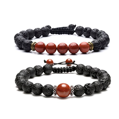 CrystalTears 2pcs Adjustable 7 Chakra Lava Rock Diffuser Bracelet,Aromatherapy Essential Oil Diffuser,Reiki Healing Crystal Beads Red Jasper