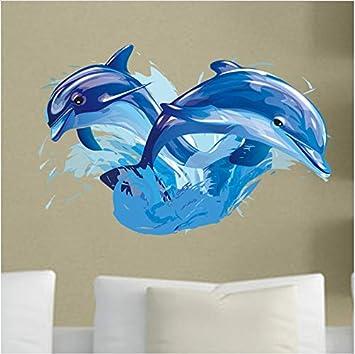 Ballena de dibujos animados Etiqueta de la pared Delfín tatuajes ...