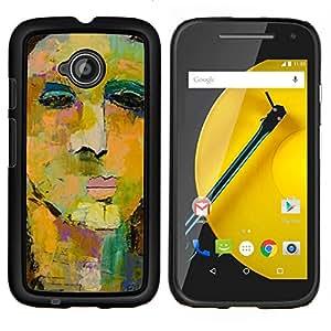 LECELL--Funda protectora / Cubierta / Piel For Motorola Moto E2 E2nd Gen -- Pintura de la cara del arte de la acuarela --