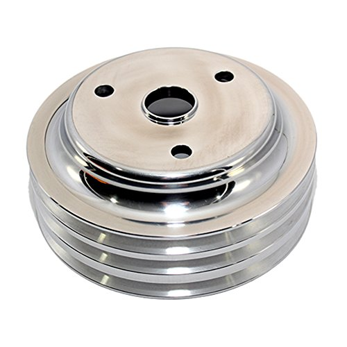 Assault Racing Products A9486POL Small Block Chevy 3 Groove Polished Aluminum Crankshaft Pulley 6.60