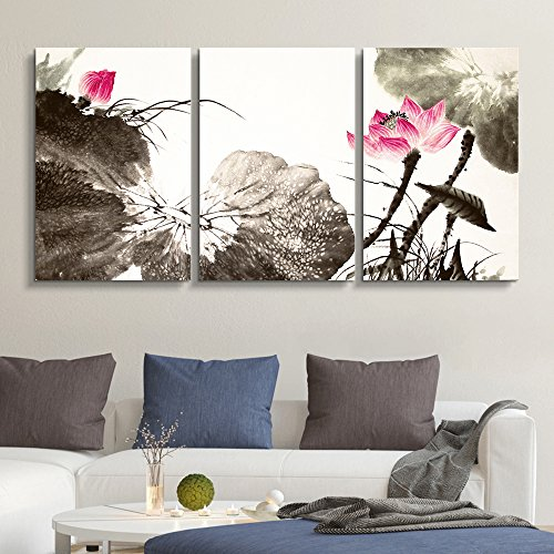3 Panel Chinese Ink and Wash Painting Style Lotus Flowers x 3 Panels