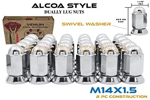 32 Pc Alcoa Dually Lug Nuts With Pressed In Washer M14x1.5 Thread Fits Silverado Sierra 3500HD Ford F-350 Ram 3500
