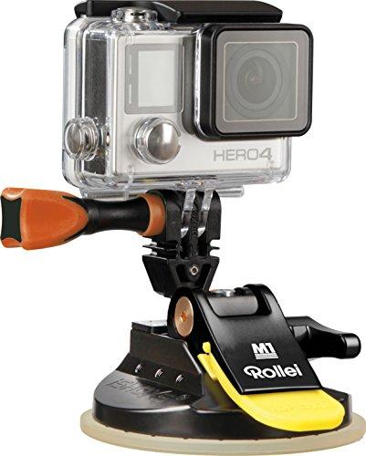 Rollei Actioncam Halterung M1 Suction Cup - professionelle Saugnapf Kamerahalterung (ultra stark) - für alle GoPro kompatiblen Actioncams, aus eloxiertem Aluminium - Schwarz