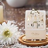Castle Design Hollow Carved Laser Cut Gold Foil Wedding Favor Candy Box-100pieces