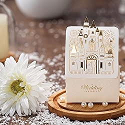 Castle Design Hollow Carved Laser Cut Gold Foil Wedding Favor Candy Box-100pieces
