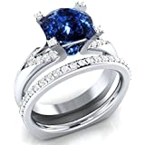 Women 925 Silver Round Cut Blue Sapphire Fashion Wedding 2pc Ring Size 6-10#by pimchanok shop (8)