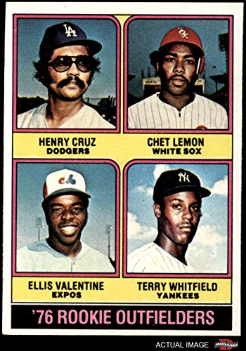 1976 Topps # 590 Rookie Outfielders Chet Lemon/Ellis Valentine/Terry Whitfield/Henry Cruz Dodgers/White Sox/Expos/Yankees (Baseball Card) Dean's Cards 6 - EX/MT Dodgers/White Sox/Expos/Yankees