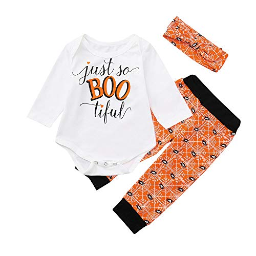 Baby Halloween Outfit,Leegor Infant Baby Girls Boys Letter Print Romper Headbands Pants Cap Costume