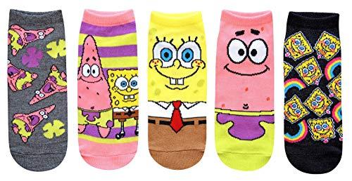 Hyp Spongebob Squarepants and Patrick Juniors/Womens 5 Pack Ankle Socks