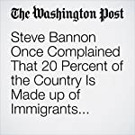 Steve Bannon Once Complained That 20 Percent of the Country Is Made up of Immigrants. It Isn't. | Philip Bump