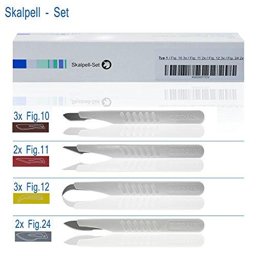 Skalpellset Fig 10(3x), 11(2x), 12(3x), 24(2x)
