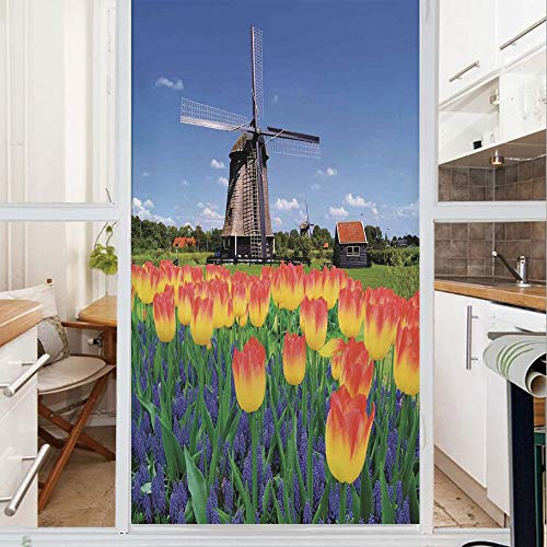 Decorative Window Film,No Glue Frosted Privacy Film,Stained Glass Door Film,Tulip Blooms with Classic Dutch Windmill Netherlands Countryside Spring Picture,for Home & Office,23.6In. by 35.4In Yellow B