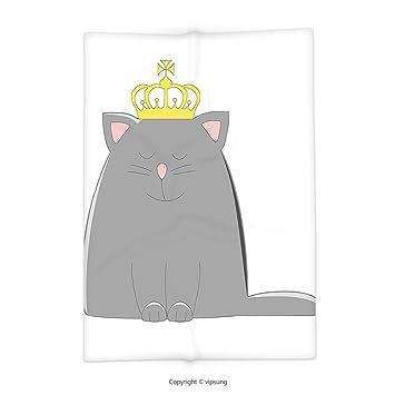 Vipsung Manta Con Dibujos Animados Gris Gris Colores Gato Con Corona
