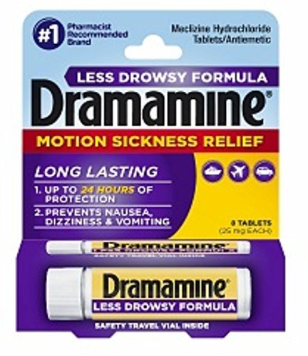 Dramamine Tablets Less Drowsy Formula, 8 tablets (Pack of 2)