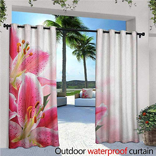 (Pink and White Patio Curtains Florist Theme with Lilies Close Up A Fresh Bouquet for The Loved Ones Outdoor Curtain for Patio,Outdoor Patio Curtains W96 x L96 Pink Orange Green)