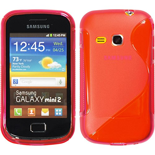 PhoneNatic Silicone Case Compatible with Samsung Galaxy Mini 2 - S-Style hot Pink Cover + Protective foils