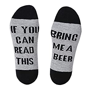 IF YOU CAN READ THIS Funny Saying Knitting Word Combed Cotton Crew Wine Coffee Beer Pizza Socks for Men Women