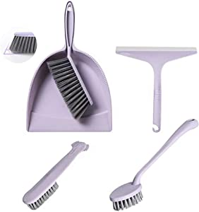 meioro Dustpan and Brush Set, Multi-Functional Cleaning Tool with Hand Broom Dust Pan, Shower Squeegee/Blade, Scrub Brush for Home Kitchen Bathroom Desk Kids Sweeping Dusting, Set-5pcs (Purple)