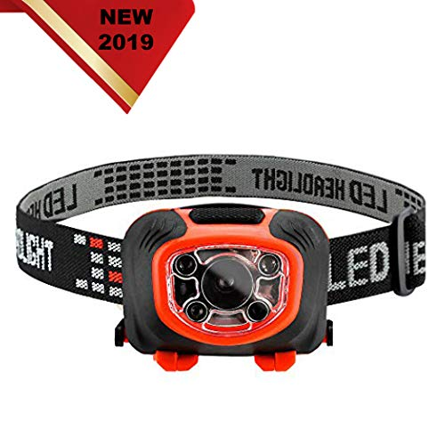LED Headlamp Flashlight Rechargeable for Camping-Hunting Hiking Road Trips-3 Light Modes-Red Light and Strobe Modes-110 Lumens Brightness-Sensor Operated-with stretchband-Fits Adults and Kids