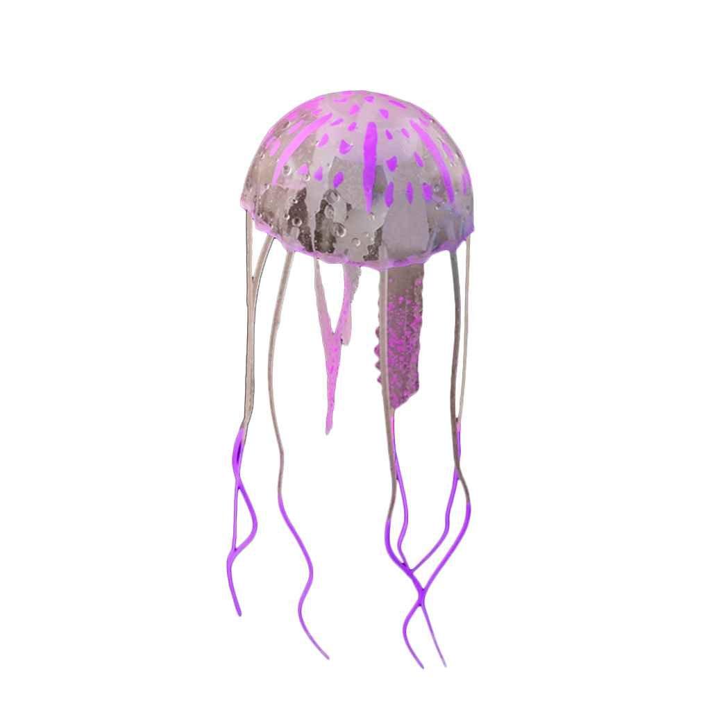 Omkuwl Rougeoyant effet méduses artificielles poisson réservoir aquarium décor Mini ornement de sous-marin violet