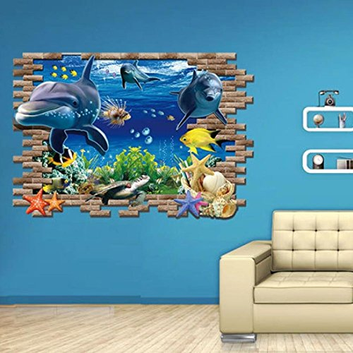 - Hatop Kid Room Sea Whale Fish 3D Wall Stickers For Kids Room Removable Decoration DIY PVC Sticker