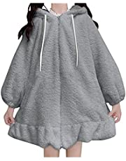 Womens Fuzzy Hoodies Zip Up Cute Bunny Ear Coats Anime Pullover Long Sleeve Rabbit Cosplay Jackets for Girls