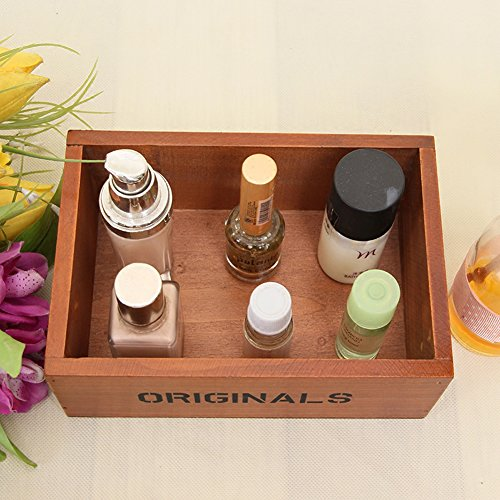 Coideal Wooden Tray Desktop Storage Holder/Remote Control Caddy Organizer Wood Box Container for Drawer, Desk, Office Supplies, Home, End Table (Vintage Wood Color, 19 x 13 x 6.5 cm) by Coideal (Image #3)