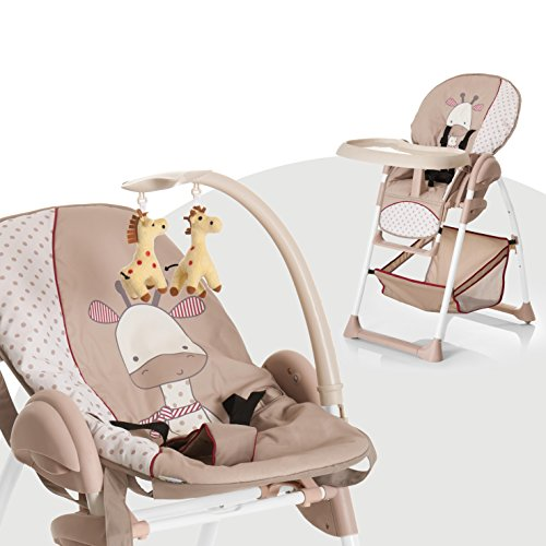hauck sit n relax highchair with bouncer attachment and toy bar from birth giraffe beige. Black Bedroom Furniture Sets. Home Design Ideas