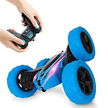 Distant Management Automobile, 4WD 2.4 Ghz Excessive Velocity Electrical RC Stunt Automobile, 360° Double-Aspect Spinning & Tumbling, LED Headlight, Children Toy Automobile for Boys and Ladies (Blue)