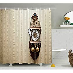 Clock Shower Curtain by Ambesonne, An Antique Style Wood Carving Clock with Roman Numerals Hanging on the Wall Design, Fabric Bathroom Decor Set with Hooks, 105 Inches Extra Wide, Brown and Tan