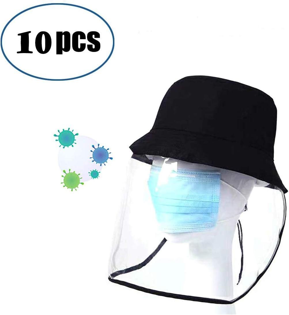 DyAn Casquillo Negro con Bionic Careta de protección de policarbonato Transparente Visera Anti Escupir Sombrero for los niños, Adultos, Visor es extraíble