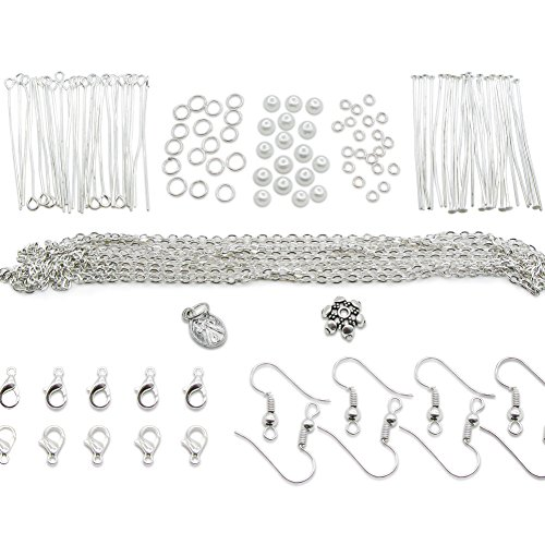 TOAOB Silver Jewelery Making Starter Kits Findings Beads Chains Clasps Earring Hook Jump Rings Pins Accessories for Necklace Earring (40mm Bead Chain Necklace)