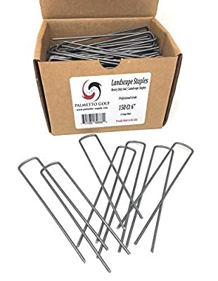 Palmetto Golf 150 Ct 6 Inch 11 Gauge Heavy Duty Professional Contractor Grade Sod Landscape Garden / Lawn / Drip Irrigation / Fabric Pins / Stakes / Pegs - Made In American