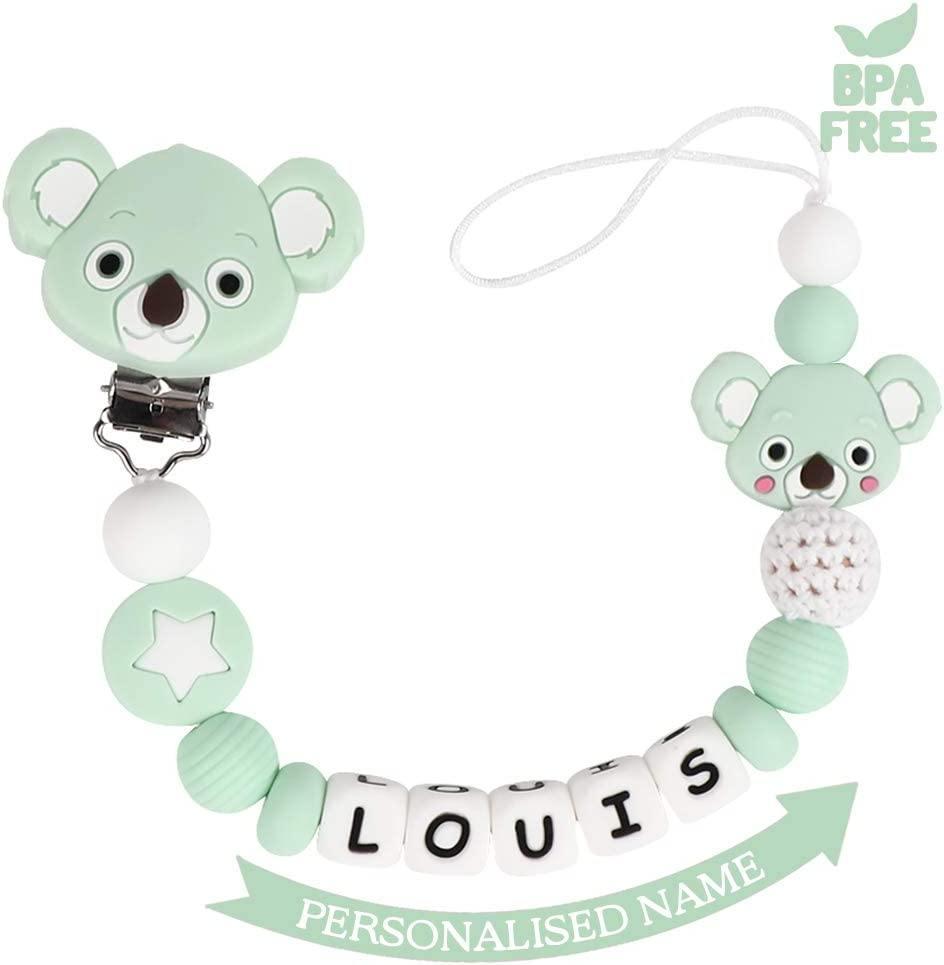 PERSONALISED DUMMY PACIFIER SOOTHER ALL TEATS,SIZES /& COLOURS ELEPHANT GREY