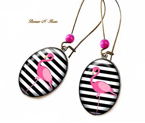 Pink Flament und schwarze Streifenohrringe