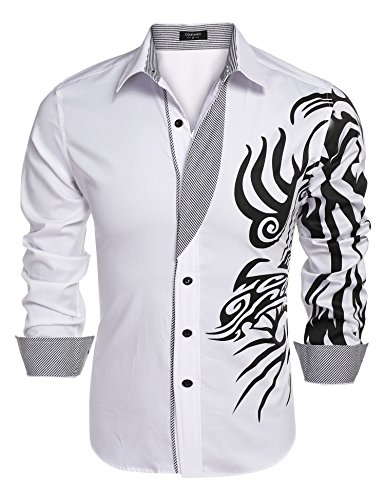 COOFANDY Mens Print Button Down Dress Shirt Fashion Long Sleeve Casual Shirts,White 1,3X-Large (Tattoo Print Dress)