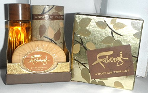 Faberge Woodhue Cologne Triplet Set with Soap and Shaker for sale  Delivered anywhere in USA