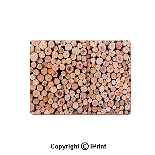 Stack Twin Aluminum (Gaming Mouse Pads, Mass of Wood Log Forest Tree Industry Group of Cut Lumber Circle Stack Image Non Slip Rubber Mousepad,7.1x8.7 inch,Cream)