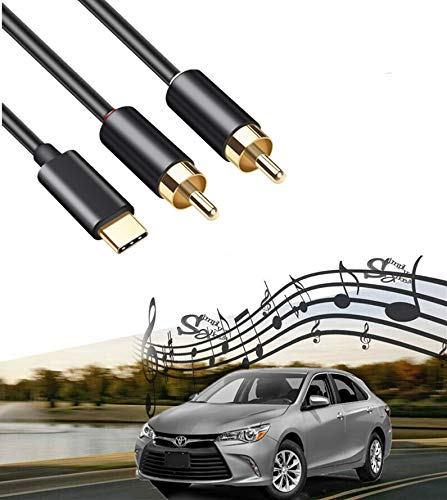 Digital Stereo Y Splitter Adapter Compatible with Google Motorola Android Phone Compatible for Toyota Honda Infiniti Ford Audi Jeep Dodge Mazda Nissan KIA USB C to 2 RCA Car Audio Aux in Cable 2M